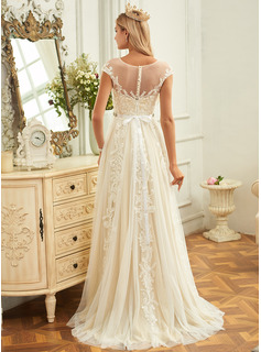 A-Line Scoop Neck Sweep Train Tulle Lace Wedding Dress With Ruffle Lace