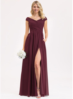 Off-the-Shoulder Floor-Length Chiffon Prom Dresses With Ruffle Split Front Pockets