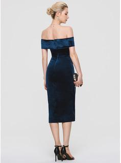 Sheath/Column Off-the-Shoulder Asymmetrical Velvet Cocktail Dress With Sequins