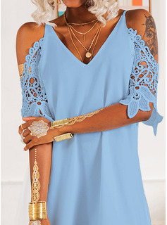 Lace Solid V-Neck 3/4 Sleeves Cold Shoulder Sleeve Midi Dresses