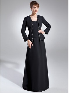 Square Neckline Floor-Length Chiffon Mother of the Bride Dress With Beading Sequins