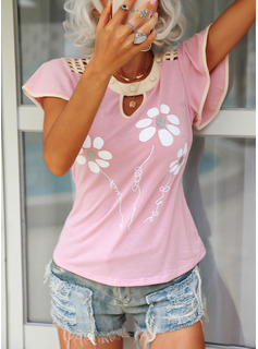 Regular Polyester Round Neck Floral Fitted Blouses