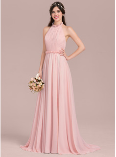 Halter Sweep Train Chiffon Bridesmaid Dress