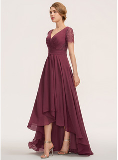 V-neck Asymmetrical Chiffon Lace Bridesmaid Dress With Ruffle