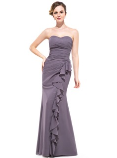 Trumpet/Mermaid Sweetheart Floor-Length Chiffon Bridesmaid Dress With Cascading Ruffles