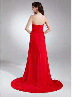 A-Line/Princess Sweetheart Court Train Chiffon Prom Dress With Ruffle Beading Sequins Split Front