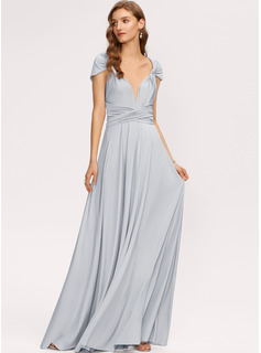 A-Line One-Shoulder V-neck Floor-Length Jersey Bridesmaid Dress