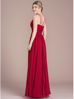 A-Line/Princess Scoop Neck Floor-Length Chiffon Prom Dresses With Ruffle