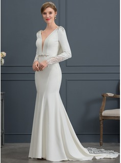 Trumpet/Mermaid V-neck Court Train Stretch Crepe Wedding Dress With Lace Beading Sequins