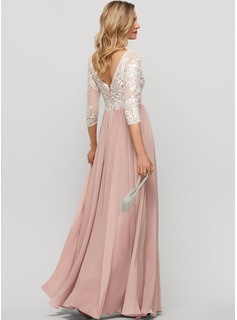 Scoop Neck Floor-Length Chiffon Evening Dress With Split Front
