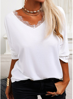 Regular Fitted Lace Solid Casual Long Sleeves