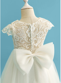 Floor-length Flower Girl Dress - Tulle Lace Short Sleeves Scoop Neck With Bow(s)