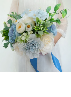 Classic Hand-tied Lace/Rhinestone/Artificial Flower Bridal Bouquets (Sold in a single piece) - Bridal Bouquets