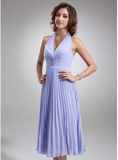 A-Line/Princess Halter Knee-Length Chiffon Bridesmaid Dress With Beading Pleated