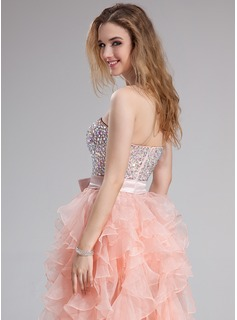 A-Line/Princess Sweetheart Floor-Length Organza Prom Dress With Beading Bow(s) Cascading Ruffles