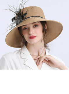 Ladies' Beautiful/Unique Papyrus With Feather/Imitation Pearls/Flower Straw Hats