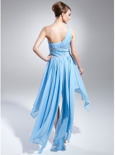 A-Line/Princess One-Shoulder Asymmetrical Chiffon Prom Dresses With Beading Cascading Ruffles