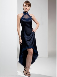 A-Line Halter Asymmetrical Charmeuse Cocktail Dress With Appliques Lace