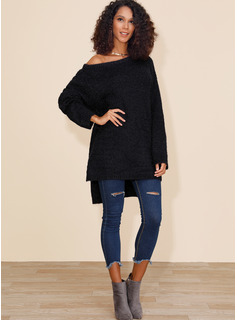 Solid Polyester One Shoulder Pullovers Sweaters