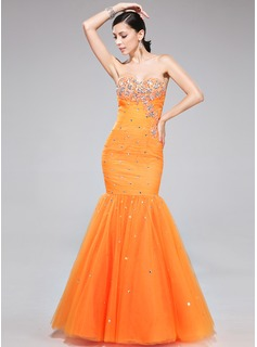 Trumpet/Mermaid Sweetheart Floor-Length Tulle Prom Dresses With Ruffle Beading Appliques Lace