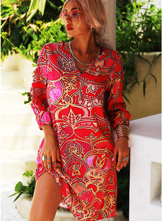 Print Shift V-Neck 1/2 Sleeves Midi Casual Vacation Tunic Dresses