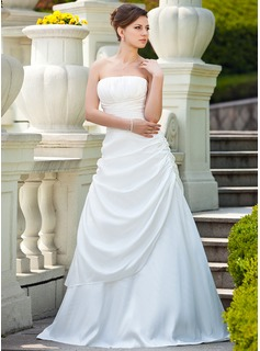 A-Line/Princess Strapless Sweep Train Taffeta Wedding Dress With Ruffle