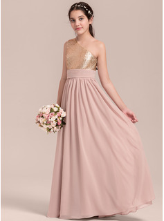 A-Line Floor-length - Chiffon/Sequined Sleeveless One-Shoulder