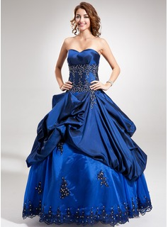 Ball-Gown Sweetheart Floor-Length Taffeta Quinceanera Dress With Beading Appliques Lace Sequins