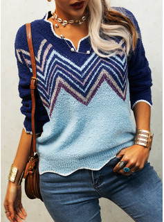 V-Neck Long Sleeves Geometric Print Casual Pullovers