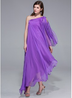 A-Line One-Shoulder Asymmetrisk Chiffon Aftenkjole