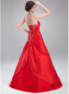 Ball-Gown Sweetheart Floor-Length Taffeta Quinceanera Dress With Ruffle Beading