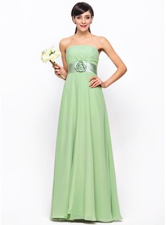 Empire Strapless Floor-Length Chiffon Bridesmaid Dress With Ruffle Flower(s)