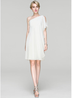 Sheath/Column One-Shoulder Knee-Length Chiffon Cocktail Dress With Ruffle