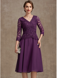 A-Line V-neck Knee-Length Chiffon Lace Cocktail Dress With Beading Sequins