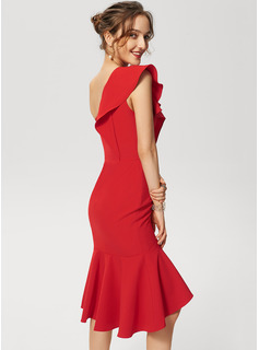 Trumpet/Mermaid One-Shoulder Asymmetrical Stretch Crepe Cocktail Dress With Cascading Ruffles