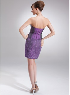 Sheath/Column Strapless Knee-Length Taffeta Lace Mother of the Bride Dress With Bow(s)