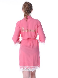 Personalized Cotton Bride Bridesmaid Mom Lace Robes Glitter Print Robes