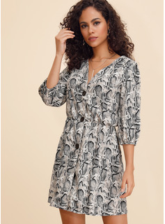 Cotton Blends With Button/Print Above Knee Dress