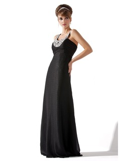 Empire Scoop Neck Floor-Length Chiffon Evening Dress With Ruffle Beading