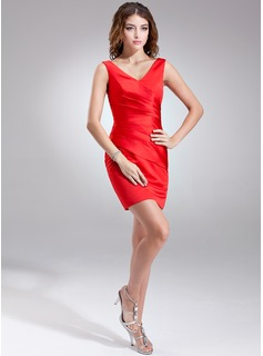 Sheath/Column V-neck Short/Mini Satin Bridesmaid Dress With Ruffle