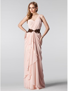 A-Line/Princess One-Shoulder Floor-Length Chiffon Prom Dress With Ruffle Beading Sequins Cascading Ruffles