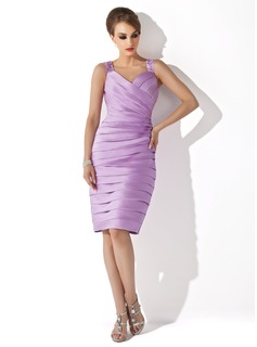 Sheath/Column Sweetheart Knee-Length Satin Mother of the Bride Dress With Ruffle Beading