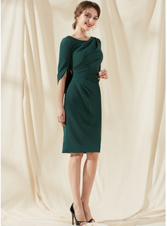 Sheath/Column Scoop Neck Knee-Length Stretch Crepe Cocktail Dress With Ruffle