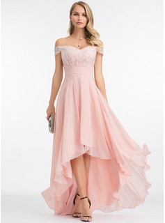 Off-shoulder Asymmetrisk Chiffon Aftenkjole