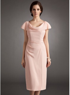 Sheath/Column Cowl Neck Knee-Length Chiffon Mother of the Bride Dress With Ruffle