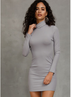 Ribbed Solid Polyester Turtleneck Sweater Dresses Sweaters