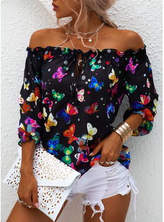 Regular Polyester Off the Shoulder Animal Print 3XL L S M XL XXL Blouses