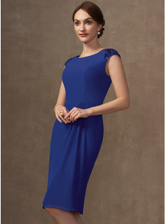 Sheath/Column Scoop Neck Knee-Length Chiffon Mother of the Bride Dress With Sequins