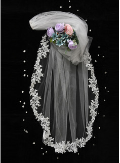 One-tier Cut Edge Chapel Bridal Veils With Applique