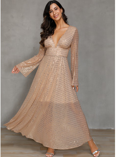 Polyester With Sequins/Solid Maxi Dress